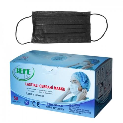 Трислойни черни медицински маски, еднократни - 3EEE, 50 броя