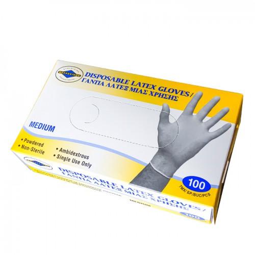 Предпазни ръкавици за еднократна употреба от латекс, с талк, 100бр